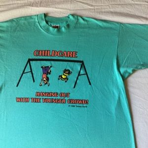 VTG 90s 1998 childcare younger crowd t shirt